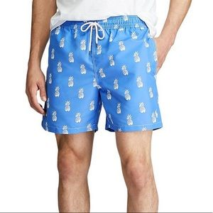 Ralph Lauren NWT Swim Trunks Blue Pineapple Large